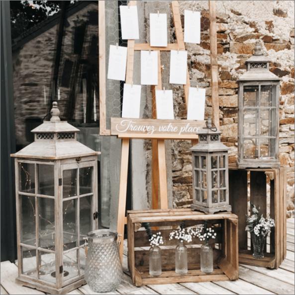 Ensemble Plan de Table Grillage Lot de 3 Lanternes Bois Soliflore Vintage Long