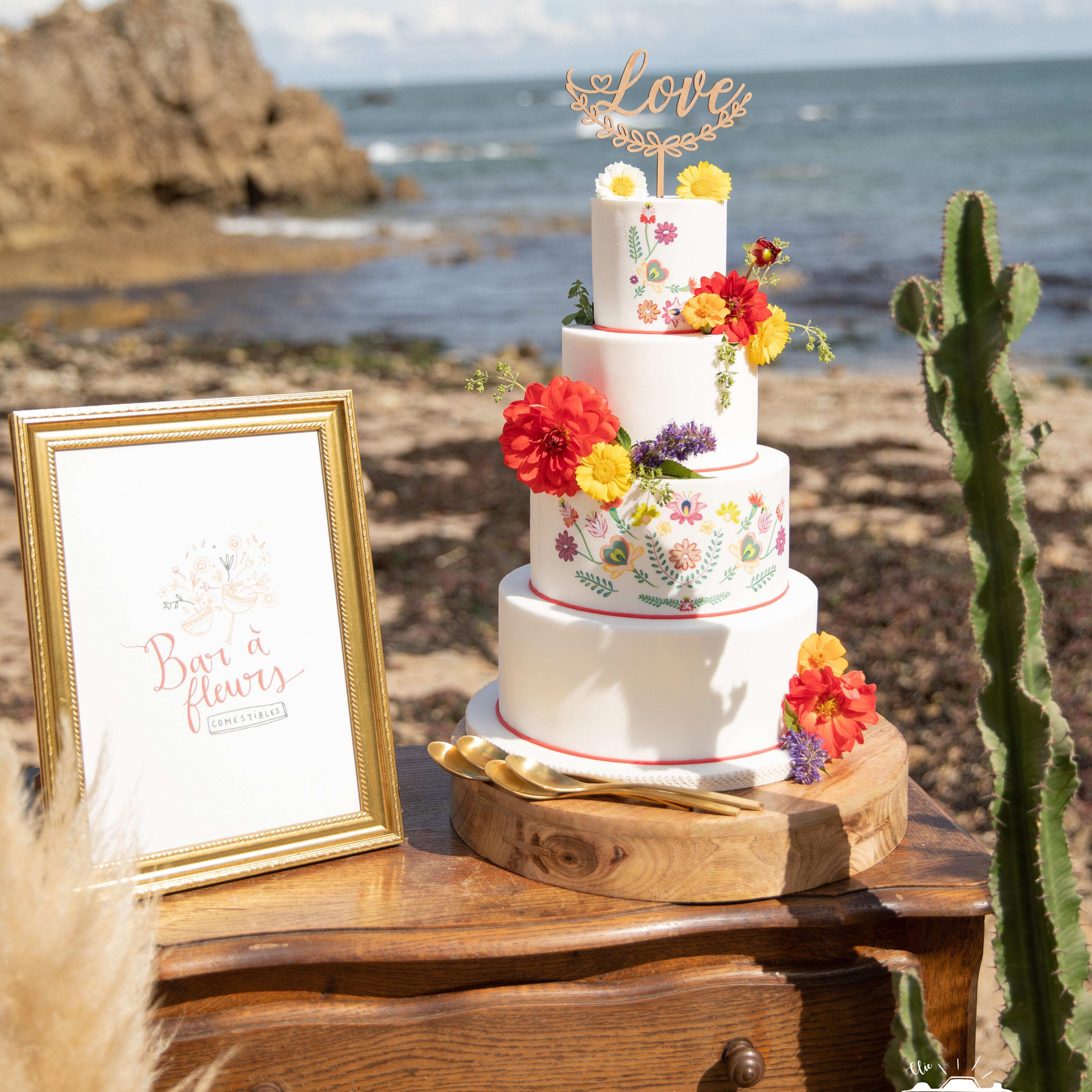 folk coloré Cake Topper Love